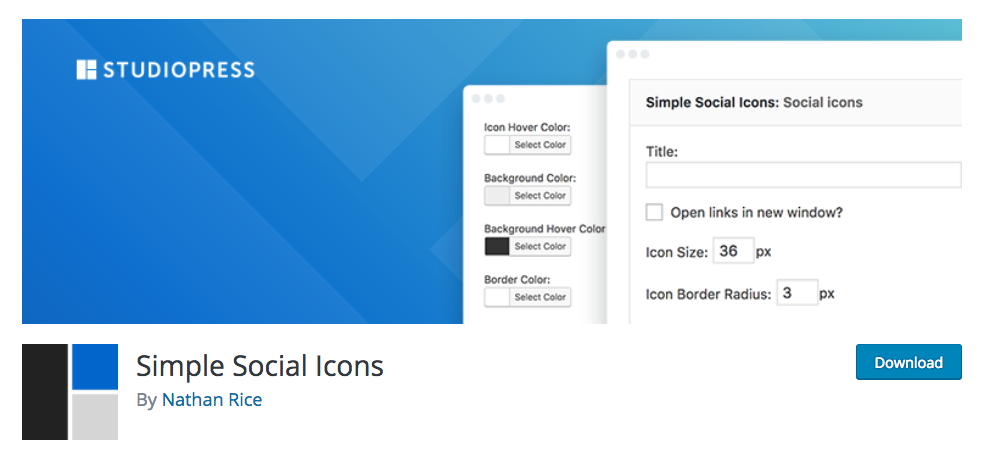 Simple Social Icons plugin by StudioPress for the Genesis Framework