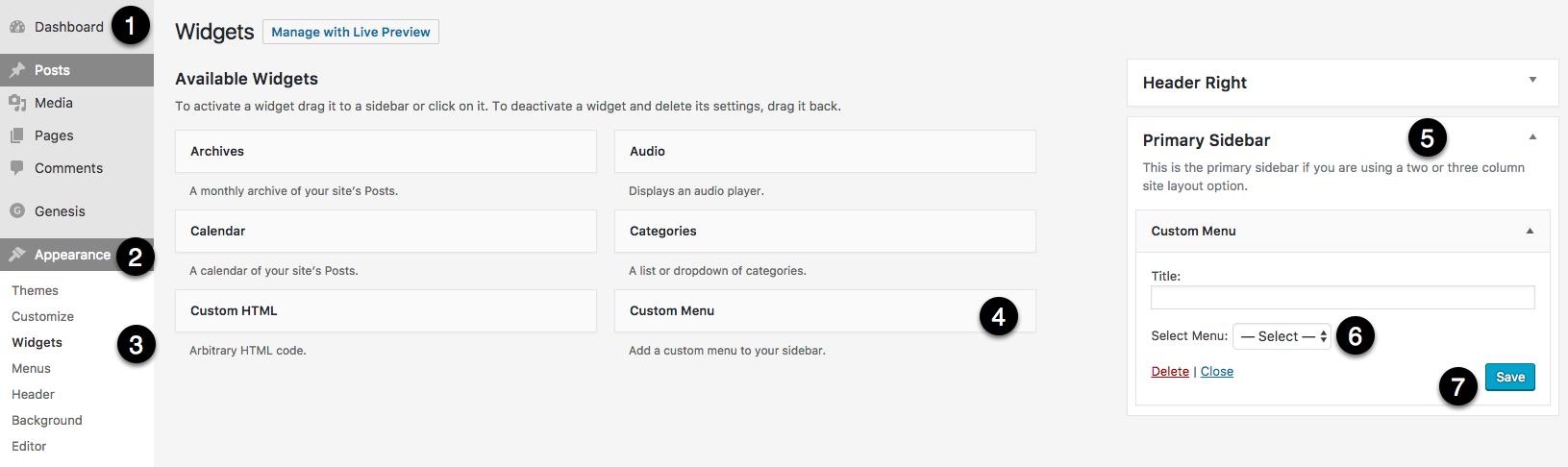 how to create sidebar menu in wordpress