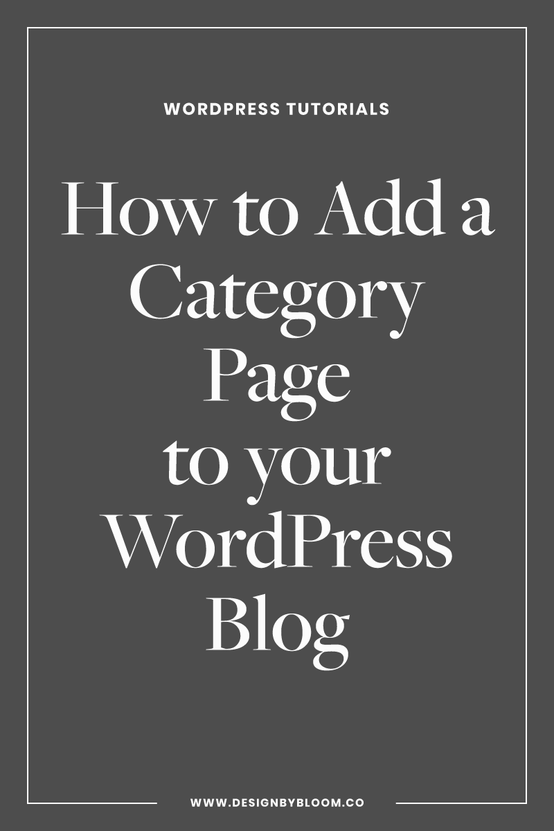 How to Add a Category Page to your WordPress Blog