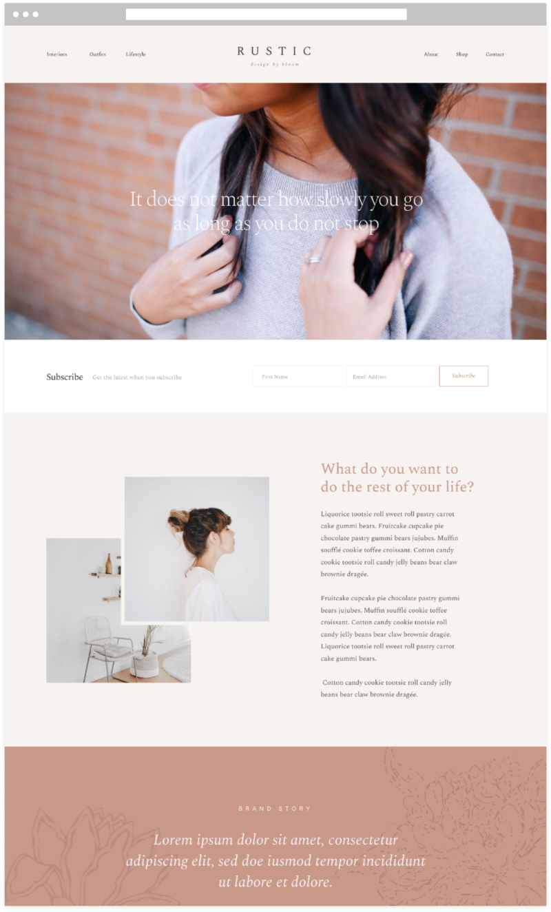 Bloom Rustic Feminine WordPress Theme Partial Design